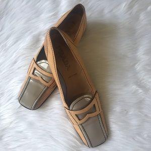 Prada Pump Heels Tan Leather Gray Patent SZ  38.5